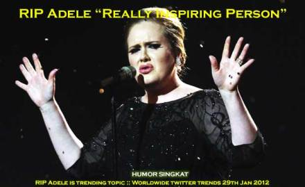 RIP Adele is trending topic :: Worldwide twitter trends 29th Jan 2012